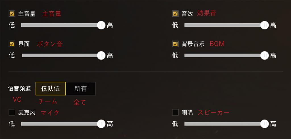 音声設定画面の翻訳