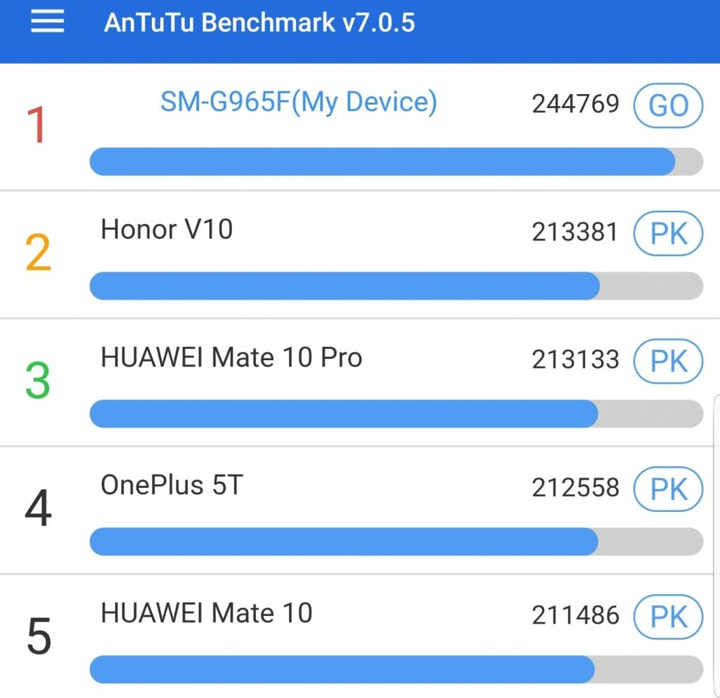 galaxy S9+ benchmark score