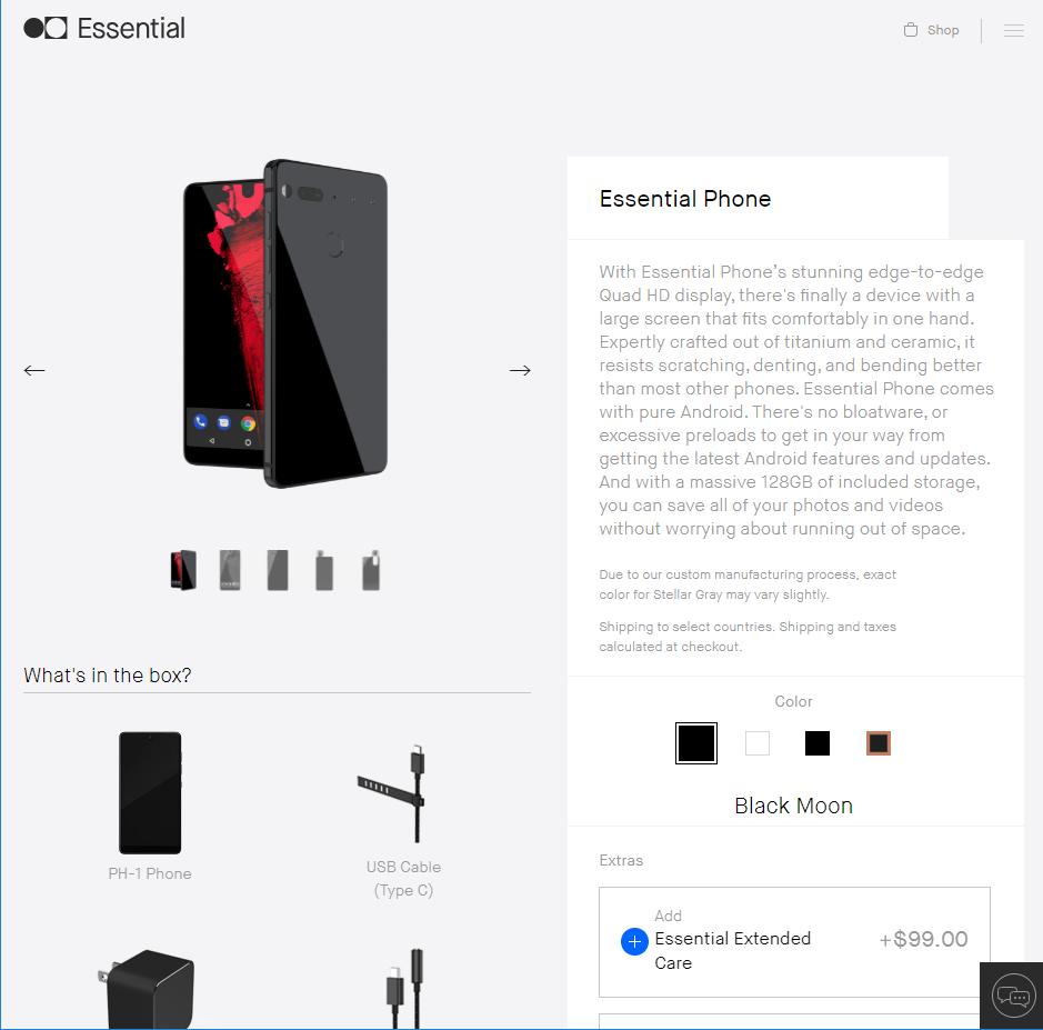 Essential Phone購入画面翻訳
